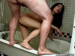 Oriental girlfriend rough bath fuck