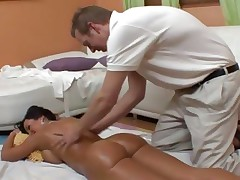 An oiled up bare Lisa Ann acquires an after massage fuck