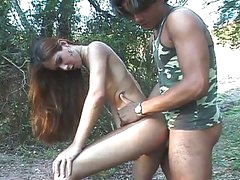 Dilettante transsexual roams the forest for military cock