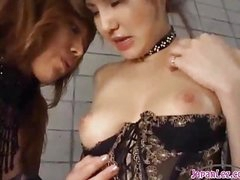 2 Hawt Oriental Gals In Hot Lingerie Sucking Each Other Nipples Patting On The Mattress In The Basement