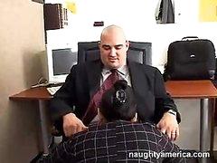 Darksome Haired Reina Leone Sucking Her Boss Powerful Weenie In The Office