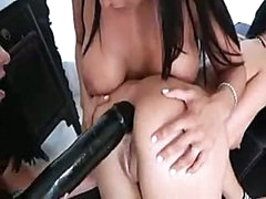 Nice-looking lesbian gals know how to put huge darksome dildo into dark hole