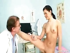 Sandra visits the doctor and he uses a speculum on her fur pie