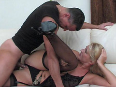 Dolled-up mamma makes her cookie ready for a rock-hard shaft of a hung chap