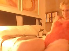 Golden-haired receives horny after virtual sex and starts self-pleasuring. This playgirl masturbates, stroking her clit and feels forthcoming orgasm. Suddenly this playgirl notices that this playgirl forgot to turn off web-camera, but now that can't stop her.