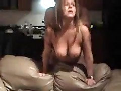 Mature bitch with big natural boobs is drilled from behind, her man is coarse with her.