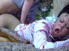Fuckable golden-haired getting pussy eaten and drilled thru her greenish pantyhose
