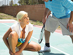 Britney can't live out of a little healthy competition. Britney likewise has a healthy set of jumbo knockers. When Charles meets up with her for a match, Britney is in way over her head. Not solely is this chab a more awesome tennis player, but this sweetheart risks being flopped out of the league entirely. As a final minute ploy, Britney uses her wits and her zeppelins in order to win the match!