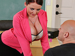 Johnny's recent substitute teacher is one sexy large-titted cutie... That Playgirl has Johnny daydreaming about a hawt fuck session in the class!!! Turns out poor Johnny wasn't dreaming entirely after all...