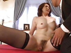 This babe is a hot milf and has a marvelous and excited face that makes a guy horny and eager to fuck her pussy. The sexually excited looks that babe gives this guy makes him kiss her delicate lips and cunt. This babe keeps her thighs spread as this guy fingers and licks that shaggy vagina with lust. This milf seems to be experienced, watch her!