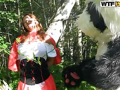Little red riding hood was going to her... well who gives a fuck, this story is a lot more interesting anyways. Here we have a slutty beauty and the Panda bear that just got her on her knees. That babe gives him head and Panda repays this cute bitch with a unfathomable fuck from behind. Will they live happily ever after?
