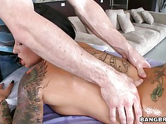 This hot whore enjoys a large hard schlong in her face hole but First this chick need her pink hairless pussy fingered. Her hawt body curls as this chick receives the fellows tongue in her vagina, widening her oiled legs wider and wider. Is this chick going to acquire a massive load of jism in her face hole after engulfing that cock? And if so, will this chick swallow?