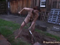 The worthless slut Maggie digs a gap to stay in it. That babe has a beautiful face gap and a hawt body but this babe is ribald and her nice-looking lips widen by a servitude device. After Maggie finishes digging this babe needs to engulf the end of the shovel and then get her bald love tunnel filled with it. That's right Maggie, u know you're place