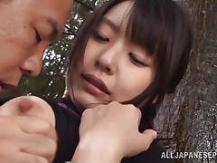 This chick is sexy and goes wild in the forest. Check out this cutie named Tsubomi, a youthful asian whore that can't live without to suck a hard dick, no matter if that chick does it in the comfort of her abode or in the middle of a forest! This chick kneels like a admirable Japanese doxy and gives oral with obedience during the time that preparing for a hard fuck