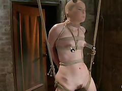 AnnaBelle Lee is all tied up in the dungeon, straddling what looks like a sort of sawhors e. Her bitch female-dom puts a nylon stocking over her head and then attaches 2 suckers to her nipples. After a brief pont of time of joy from a vibrator, the bitch female-dom receives a whip and starts lashing her legs.