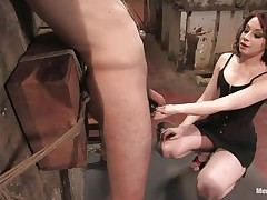 Hawt stud Wolf has his hands tied up by a very hot femdom-goddess called Amber. This babe enjoys attaching weights to his teats and bald balls. Then, this chab gets his tight ass whipped for being such a bad boy. What punishments do u think that babe has prepared next for him?