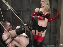 Watch this super sexy blonde mom teaching this bad boy a lesson in hard way. This playgirl fastened him up and gagged his face hole before fucking his world upside down! This playgirl puts on a strap on and fucks him real hard. This playgirl too locked his cock so that this chab can't cum! This playgirl keeps teasing his cock and fucking his butt with pleasure!