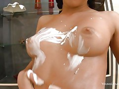 Check out my cutie Kimberly, she's beautiful and naughty! I caught her when this babe wanted to play and kept on filming as this babe acted like a real slut. Kimberly has a voluptuous body, large firm scoops an incredible bubble butt and dark hair. She can't live without to taunt me with her lotion making herself slippery for me.