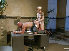 Chad Rock thinks he'll impress mastix Lorelei Lee with his business suit. She's unimpressed. This babe fucks him from behind on the desk with her dark strap-on then flips him over on his back and pounds his a-hole harder. This babe strokes the bitch boy's cock and allows him to squirt his spunk all over himself.