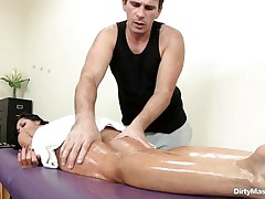 Look at this oiled lewd hottie getting her sexy body massaged and her nice a-hole spanked. See how lewd that stud got when that stud saw her constricted pussy. Is that hottie going to get some dick juice on her beautiful face or a big hard dick inside her sexy ass?
