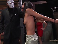 A facile yet efficient metal device keeps her neck and arms immobilized. This marvelous dark brown is about to have one hell of an experienced and she's scared. Masked guys put her in a cage and makes her see how a black hunk deepthroats roughly another sexy ass brunette. This babe got the idea that she's next
