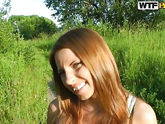 I just love this time of day. The way the sun looks makes it the perfect. Even better is the fact I have Madelyn to play with. This brunette hair playgirl likes being outside and actually likes getting naked and that babe really, actually likes to have a dick in her mouth. Watch her take it and engulf it!