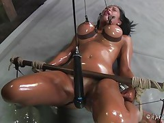 This is smth you will love to watch! Marine is a smoking hot babe, she's all oiled up and tied. Her large bazookas are squeezed and have clamps on the nipps and her haunches are widen wide. Between these hawt haunches Marine has a pink muff that has been gaped for us so we can have a joy the sight of it's insides