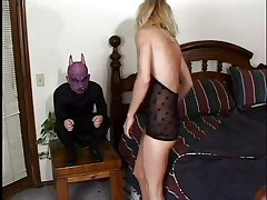 This is cute, a blond skinny babe with pink moist lips is taking a nap and the gargoyle on her bedside awakes and scares her. She get's very horny immediately and begins engulfing his diminutive devilish penis, deepthroating it with pleasure. The gargoyle bonks her pretty face hole hard and grabs her by that gorgeous hair as he does that. Is this little devil going to cum on her pretty face?