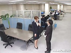 Now that is not a way to treat your work place! The lascivious Japanese employee goes on the desk and piddles on it. This babe is a bit shy and worried about what her colleagues will think, luckily this one supports her and even greater amount then that, this chab gives the doxy his jock for a rub and much more. Wonder what she will do next?