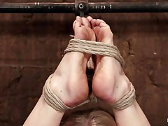 Don't u just love seeing a blondie getting roughly treated and punished? This one just reached her limitations as that babe hangs there during the time that being tied on the floor. It's a fine thing she's skinny 'coz she's flexible. The mistresse starts rubbing her pussy with a marital-device and fingers her vagina so hard that it turns red!