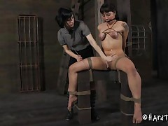 Kinky, glamorous and sadistic the dark brown milf is using a facile stick to castigation her sex slave. This chick bound the whore and used rope to squeeze her boobs so hard that they've not quite turned blue. Using that stick that chick stung her thrall on the breast and cunt. This chick can't live without doing it and we love to watch her as that chick does it