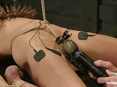 The man is showing his skills in domination and punishment. This guy putted laundry pliers on this slut's boobs and then suckers on her nipples before rubbing her love button with a vibrator. After rubbing that fur pie worthwhile and precious this guy hangs her and probably has something very peculiar for her ass, would u like to watch that?