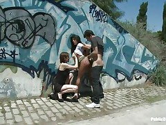 Watch how this brunette hair playgirl Yoha is getting fucked in public. By the side of a quiet road, James Dean and her bitch grabbed and abase her at will. Watch 'em finger her slit and make her giving blowjob. Later, James start fucking the hell out of her from behind as the other slut's enjoying the scene!