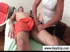 Lascivious homosexual fellow comes in for back massage and gets his wang massaged too