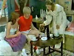 Brother&amp,#039,s friend and girlfriend playing to the doctor when mommy  comes-Retro