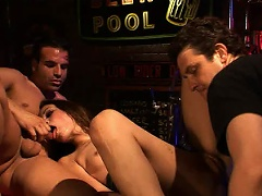 It may be closing time, but Amber Rayne is about to receive her pink...