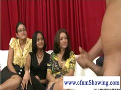 Cfnm gals watching a jerk off session