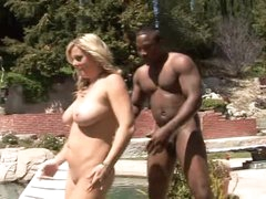 This guy bows over white milf by the pool