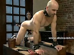 Beautifull maid teaches her supposed boss the ways of slavery femdom sex humiliating him