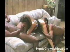 Retro cocksucker blows 2 black guys