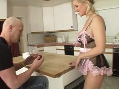 Milf in French maid lingerie sucks his cock and wazoo