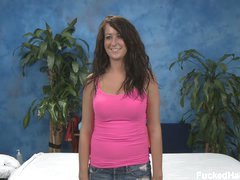 Nice girl Amber with wet milk shakes disrobes undressed